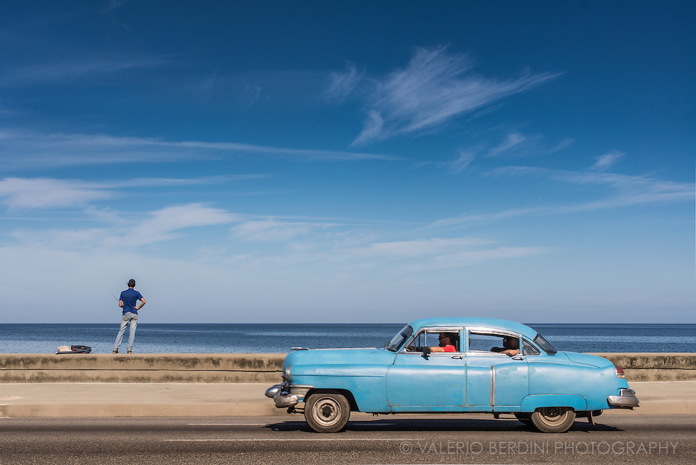 Vintage american car on the Malecon in Havana, Cuba. 29 Dec 2015