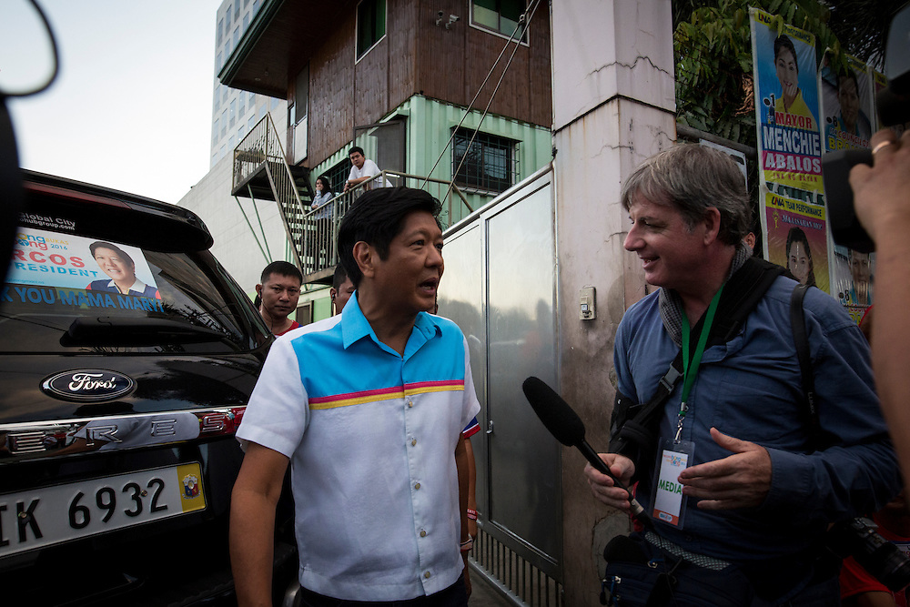 MANILA, PHILIPPINES - MAY 5: Bong Bong Marcos running for Vice president Manila, Philippines on May 5, 2016. The 2016 Philippine national elections will be held on 09 May.<br /> <br /> Photo by Richard A. de Guzman