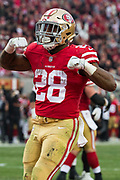 San Francisco 49ers running back Carlos Hyde (28) celebrates a touchdown against the Jacksonville Jaguars at Levi's Stadium in Santa Clara, Calif., on December 24, 2017. (Stan Olszewski/Special to S.F. Examiner)