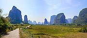 China, Yangshuo town Karst landscape panorama