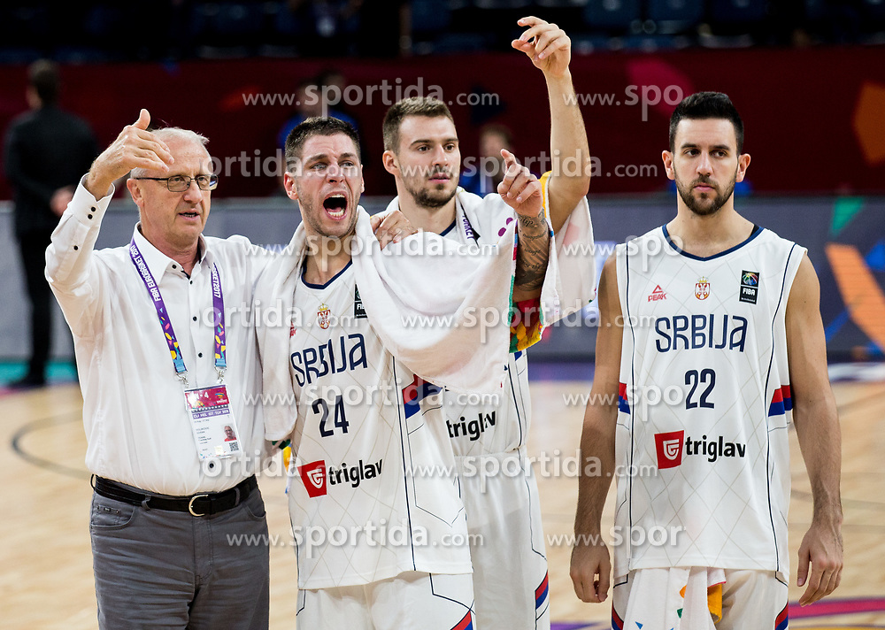 Goran Miljkovic Finac, Stefan Jovic of Serbia after the basketball match between National Teams of Serbia and Hungary at Day 11 in Round of 16 of the FIBA EuroBasket 2017 at Sinan Erdem Dome in Istanbul, Turkey on September 10, 2017. Photo by Vid Ponikvar / Sportida