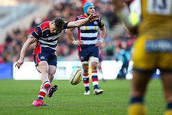 Jason Woodward of Bristol Rugby kicks a Penalty to make it 3-0 - Rogan Thomson/JMP - 26/12/2016 - RUGBY UNION - Ashton Gate Stadium - Bristol, England - Bristol Rugby v Worcester Warriors - Aviva Premiership Boxing Day Clash.