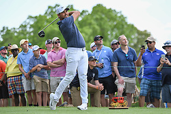 May 6, 2018 - Charlotte, NC, U.S. - CHARLOTTE, NC - MAY 06: Jason Day tees off during the final round of the Wells Fargo Championship on May 6, 2018 at Quail Hollow Club in Charlotte, NC. (Photo by William Howard/Icon Sportswire) (Credit Image: © William Howard/Icon SMI via ZUMA Press)