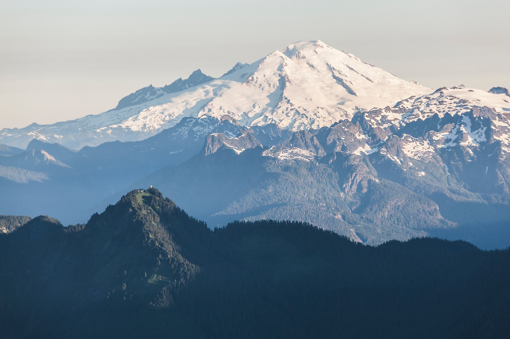 Mount Baker towers above the Lookout Mountain Lookout, Mount Baker-Snoqualmie National Forest, Washington.