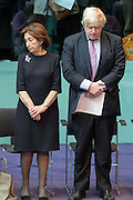 UNITED KINGDOM, London: 26 January 2016 From left to right: Holocaust survivor Hannah Lewis and London Mayor Boris Johnson stand in City Hall during a memorial service to remember victims of the Holocaust this morning. The Mayor of London, Boris Johnson, joined members of the London Assembly as well as Holocaust survivors to mark 71 years since the liberation of Auschwitz-Birkenau and to pay tribute to victims of other subsequent genocides. Rick Findler / Story Picture Agency