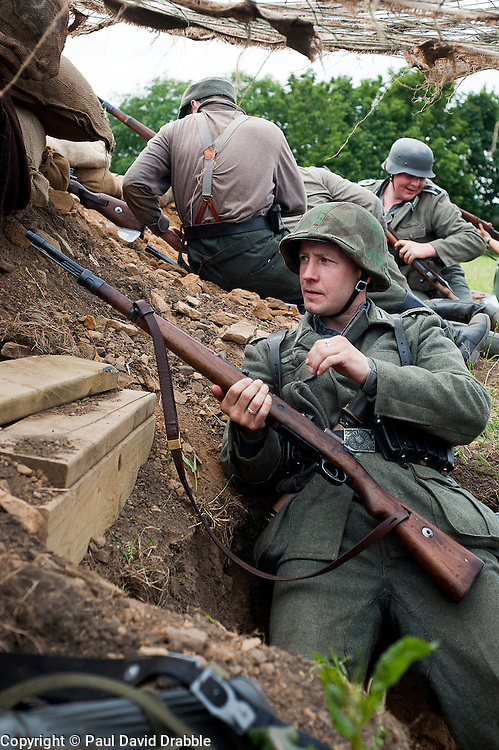 Reenactors portray panzer grenadiers from the elite German Gro&szlig;deutschland Division during he Spam 1940s Wartime Weekend Heckmondwike <br />