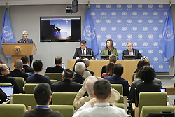March 28, 2019 - New York, NY, United States - United Nations, New York, USA, March 28, 2019 - Petteri Taalas, Secretary-General of the World Meteorological Organization (WMO), speaks at the press briefing to launch the WMO Statement on the State of the Global Climate 2018 and an update on Extreme Weather in 2019. At right is Secretary-General Antonio Guterres and in the centre is Maria Fernanda Espinosa Garces, President of the seventy-third session of the General Assembly today at the UN Headquarters in New York..Photo: Luiz Rampelotto/EuropaNewswire  (Credit Image: © Luiz Rampelotto/NurPhoto via ZUMA Press)