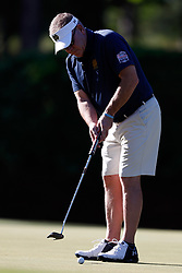 Brian Kelly putts during the Chick-fil-A Peach Bowl Challenge at the Oconee Golf Course at Reynolds Plantation, Sunday, May 1, 2018, in Greensboro, Georgia. (Paul Abell via Abell Images for Chick-fil-A Peach Bowl Challenge)
