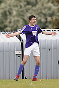City of Liverpool's (purple) Jamie McDonald celebrates his second goal during the North West Counties League Play Off Final match between Litherland REMYCA and City of Liverpool FC at Litherland Sports Park, Litherland, United Kingdom on 13 May 2017. Photo by Craig Galloway.