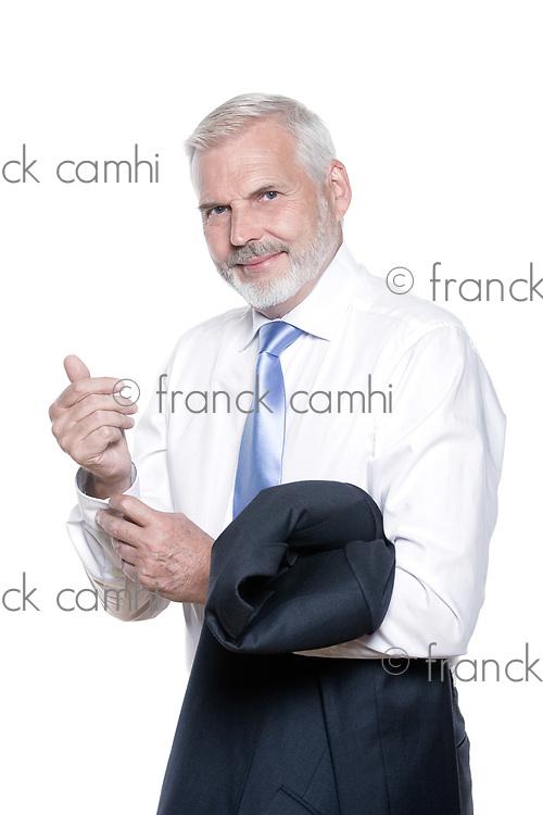 caucasian senior businessman portrait dressing isolated studio on white background