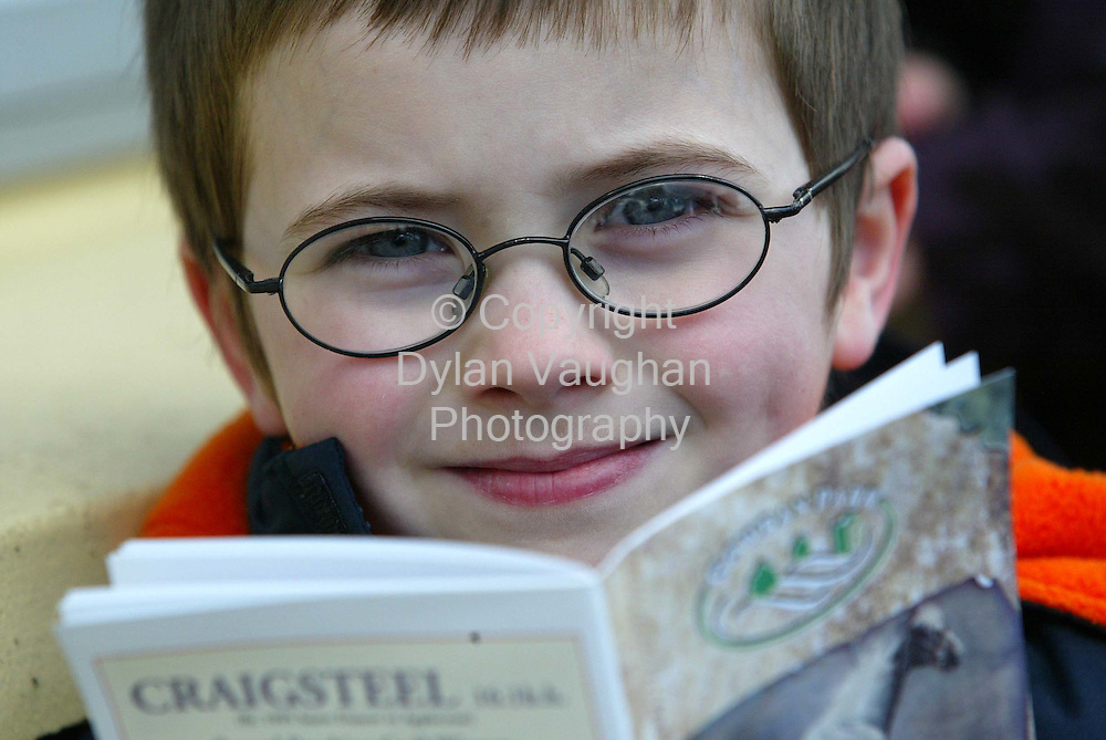 7/4/2004.Pictured yesterday enjoying the action at Gowran Park Races was John Berry aged 5 from Blackwater in County Wexford..Picture Dylan Vaughan