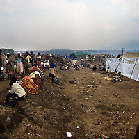 Goma Democrati Republic of Congo - View of the Kibumba refugee camp, this camp contained over 250,000 people. The Rwandan refugee crisis put severe pressure on the park. Nearly 1 million refugees were camped in the area around Goma and surrounding the park. ©Jean-Michel Clajot