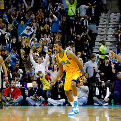 January 22, 2011; New Orleans, LA, USA; New Orleans Hornets small forward Trevor Ariza (1) celebrates after hitting a three point basket against the San Antonio Spurs during the third quarter at the New Orleans Arena. The Hornets defeated the Spurs 96-72.  Mandatory Credit: Derick E. Hingle