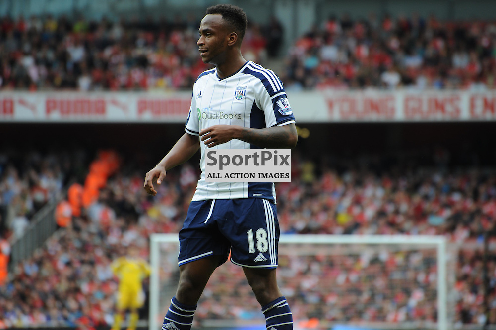 West Broms Saido Berahino in action during the Arsenal v West Brom match on Sunday 24th May 2015