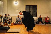 Scaramuccia, near Orvieto. Zenshinji buddhist temple. The  zen monk Engaku Taino (Luigi Mario) founded the Zenshinji Scaramuccia's temple in 1973 near Orvieto. At  Bukkosan Zenshinji temple Engaku Taino teach the Lin Chi di Chan (Rinzai Zen) buddhist school with traditional Zazen meditation of crossed legs.