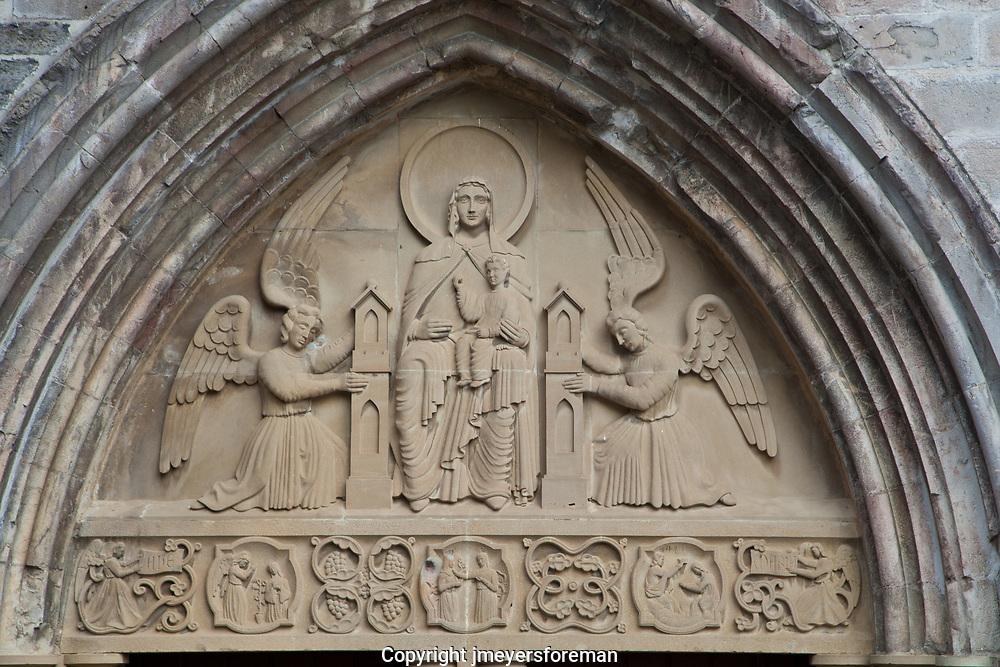 Tympanium Iglesia de la REal Colegiata de Santa Maria, Roncesvalles (Orreaga) Spain