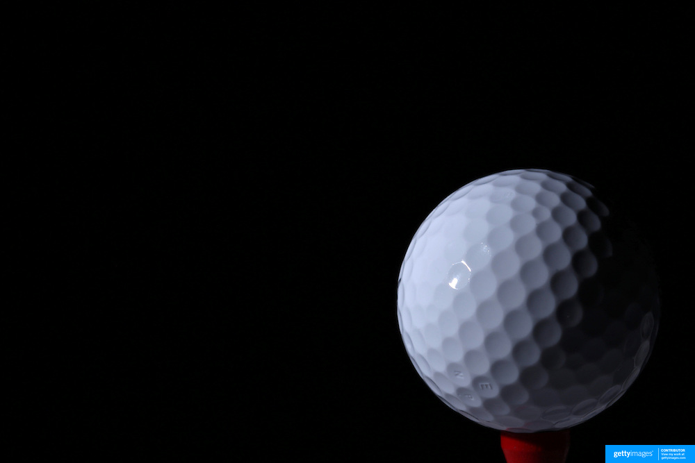 A studio shot of a Golf Ball on a tee. 26th October 2012. Photo Tim Clayton