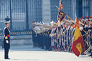 King Felipe VI of Spain attended the New Year's Military Parade at the Palacio Real on January 6, 2015 in Madrid, Spain