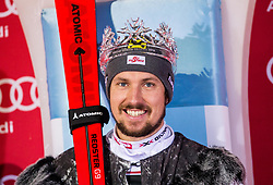 "Winner and Snow King Marcel Hirscher (AUT) celebrates at Trophy ceremony after the 2nd Run of FIS Alpine Ski World Cup 2017/18 Men's Slalom race named ""Snow Queen Trophy 2018"", on January 4, 2018 in Course Crveni Spust at Sljeme hill, Zagreb, Croatia. Photo by Vid Ponikvar / Sportida"