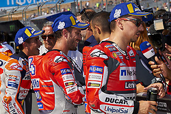 September 22, 2018 - Alcaniz, Teruel, Spain - (L-R) Marc Marquez (93) of Spain and Repsol Honda Team, Andrea Dovizioso (4) of Italy and Ducati Team and Jorge Lorenzo (99) of Spain and Ducati Team during qualifying for the Gran Premio Movistar de Aragon of world championship of MotoGP at Motorland Aragon Circuit on September 22, 2018 in Alcaniz, Spain. (Credit Image: © Jose Breton/NurPhoto/ZUMA Press)