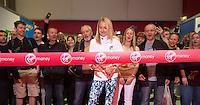 Paula Radcliffe UK opens the Virgin Marathon London Marathon Expo 2015 posing with the first runners queuing to register to receive their bibs.<br /> <br /> Virgin Money London Marathon 2015<br /> <br /> Photo: Bob Martin for Virgin Money London Marathon<br /> <br /> This photograph is supplied free to use by London Marathon/Virgin Money.