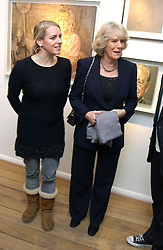 Left to right, LAURA PARKER BOWLES and her mother HRH the DUCHESS OF CORNWALL at an exhibition of artist Jonathan Yeo's portrait paintings held at Eleven, 11 Eccleston Street, London SW1 on 16th February 2006.<br /><br />NON EXCLUSIVE - WORLD RIGHTS