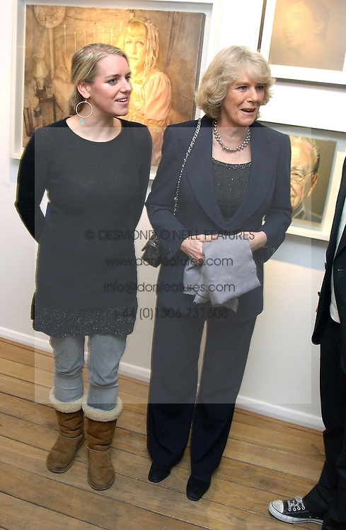 Left to right, LAURA PARKER BOWLES and her mother HRH the DUCHESS OF CORNWALL at an exhibition of artist Jonathan Yeo's portrait paintings held at Eleven, 11 Eccleston Street, London SW1 on 16th February 2006.<br />