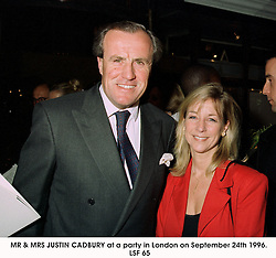 MR & MRS JUSTIN CADBURY at a party in London on September 24th 1996.LSF 65