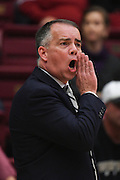 November 14, 2014; Stanford, CA, USA; Wofford Terriers head coach Mike Young instructs against the Stanford Cardinal during the first half at Maples Pavilion.