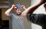 DENVER, CO - JULY 4: Matt Bocklet of the Denver Outlaws ties a flag bandana to wear while playing against the Boston Cannons during their MLL game at Sports Authority Field at Mile High on July 4, 2015 in Denver, Colorado. The Cannons won the game 22-9. (Photo by Marc Piscotty/Getty Images) *** Local Caption *** Matt Bocklet
