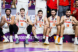 Ricky Rubio of Spain, Juancho Hernangomez of Spain, Guillem Vives of Spain, Joan Sastre of Spain, Pierre Oriola of Spain at medal ceremony after placed third during basketball match between National Teams  Spain and Russia at Day 18 in 3rd place match of the FIBA EuroBasket 2017 at Sinan Erdem Dome in Istanbul, Turkey on September 17, 2017. Photo by Vid Ponikvar / Sportida