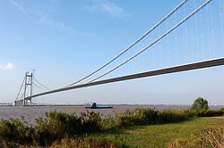 View of Runyang suspension Bridge across Yangtze river currently the longest bridge in China
