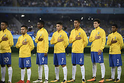 October 25, 2017 - Kolkata, West Bengal, India - Brazil football team stands for national anthem during the FIFA U 17 World Cup India 2017 Semi Final match in Kolkata. Players of England and Brazil in action  during the FIFA U 17 World Cup India 2017 Semi Final match on October 25, 2017 in Kolkata. (Credit Image: © Saikat Paul/Pacific Press via ZUMA Wire)