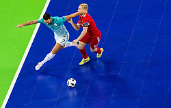Gasper Vrhovec of Slovenia vs Sergei Abramov of Russia during futsal quarterfinal match between National teams of Slovenia and Russia at Day 7 of UEFA Futsal EURO 2018, on February 5, 2018 in Arena Stozice, Ljubljana, Slovenia. Photo by Vid Ponikvar / Sportida