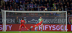 TRNAVA, SLOVAKIA - Thursday, October 10, 2019: Wales' Connor Roberts clears the ball but Slovakia' score with a return during the UEFA Euro 2020 Qualifying Group E match between Slovakia and Wales at the Štadión Antona Malatinského. (Pic by David Rawcliffe/Propaganda)