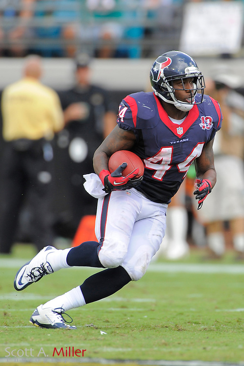 Houston Texans running back Ben Tate (44) runs upfield during the NFL game between the Texans and the Jacksonville Jaguars, at EverBank Field on September 16, 2012 in Jacksonville, Florida. The Texans won 27-7...©2012 Scott A. Miller.