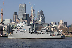 © Licensed to London News Pictures. 13/02/2017. LONDON, UK.  The German Navy spy ship, FGS Oker A53 leaves London, passing the City of London skyscrapers before passing under Tower Bridge on the River Thames following a short London visit. FGS Oker A53 is one of the Oste class ships, that are purpose built intelligence collection spy ships and were primarily designed to gather data on Soviet warships.  Photo credit: Vickie Flores/LNP.