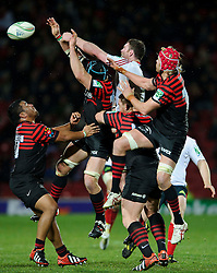 Saracens Lock (#4) Steve Borthwick (capt) and Munster Lock (#5) Donnacha Ryan compete in the air for a high ball during the second half of the match - Photo mandatory by-line: Rogan Thomson/JMP - Tel: Mobile: 07966 386802 16/12/2012 - SPORT - RUGBY - Vicarage Road - Watford. Saracens v Munster Rugby - Heineken Cup Round 4.