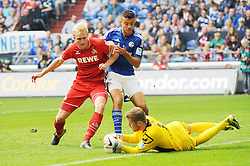 04.10.2015, Veltins Arena, Gelsenkirchen, GER, 1. FBL, Schalke 04 vs 1. FC Koeln, 8. Runde, im Bild V.l.n.r. Frederik Soerensen, Timo Horn (beide 1 FC Koeln), Franco di Santo (Schalke 04), 04.10.2015 --- Fussball --- 1. Bundesliga --- Schalke 04 vs 1 FC Koeln, Foto: Thomas Thienel, Eibner // during the German Bundesliga 8th round match between Schalke 04 and 1. FC Cologne at the Veltins Arena in Gelsenkirchen, Germany on 2015/10/04. EXPA Pictures © 2015, PhotoCredit: EXPA/ Eibner-Pressefoto/ Thienel<br /> <br /> *****ATTENTION - OUT of GER*****