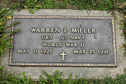 31 August 2017:   Veterans graves in Park Hill Cemetery in eastern McLean County.<br /> <br /> Warren L Miller CK3 US Navy World War II May 11 1926 May 25 1991