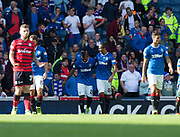 9th September 2017, Ibrox Park, Glasgow, Scotland; Scottish Premier League football, Rangers versus Dundee; Rangers' Alfredo Morelos is congratulated after scoring by Bruno Alves