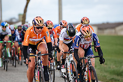 Chantal Blaak and Megan Guarnier lead the battle through the wind - Women's Gent Wevelgem 2016, a 115km UCI Women's WorldTour road race from Ieper to Wevelgem, on March 27th, 2016 in Flanders, Netherlands.