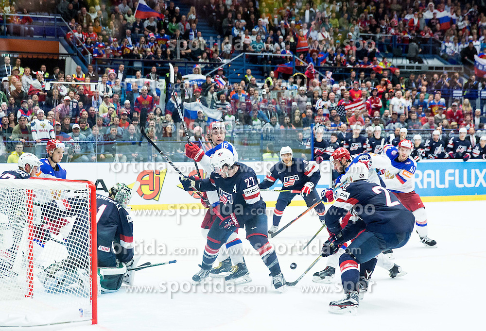 Ilya Kovalchuk of Russia (R) and Sergei Plotnikov of Russia vs Trevor Lewis of USA, Justin Faulk of USA and Jack Campbell of USA during Ice Hockey match between Russia and USA at Day 4 in Group B of 2015 IIHF World Championship, on May 4, 2015 in CEZ Arena, Ostrava, Czech Republic. Photo by Vid Ponikvar / Sportida