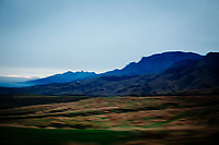 A blurry landscape near Mount Aso in Kyushu, Japan.
