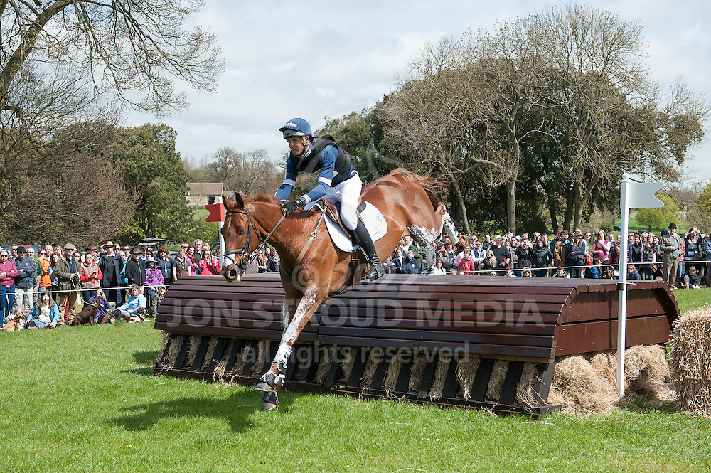 Jonathan Paget (NZL) & Clifton Lush - Fence 2, Deer Feeder - XC - Mitsubishi Motors Badminton Horse Trials - CCI4* - Badminton, Gloucestershire, United Kingdom - 05 May 2013