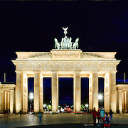 Panorama of evening view of the Berlin's Brandenburg Gate, one of Europe's and the world's most recognizable and historic landmarks.