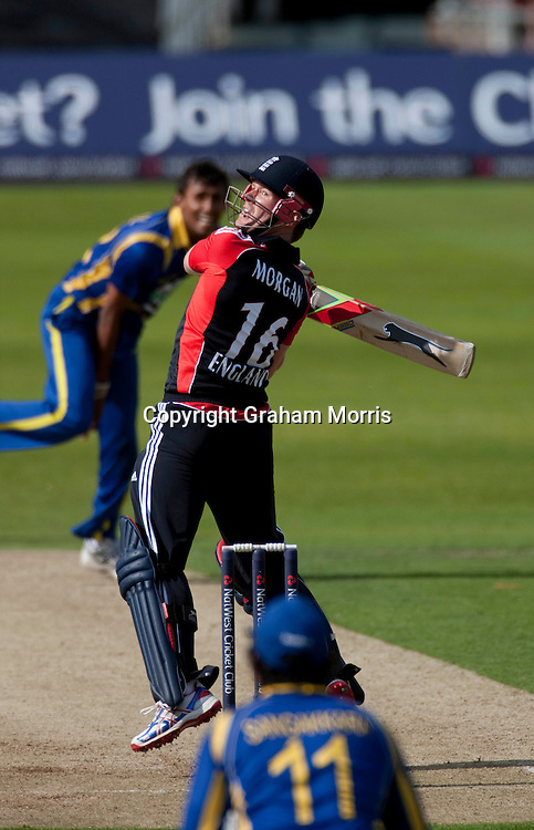 Eoin Morgan upper cuts during the second one day international between England and Sri Lanka at Headingley, Leeds. Photo: Graham Morris (Tel: +44(0)20 8969 4192 Email: sales@cricketpix.com) 01/07/11