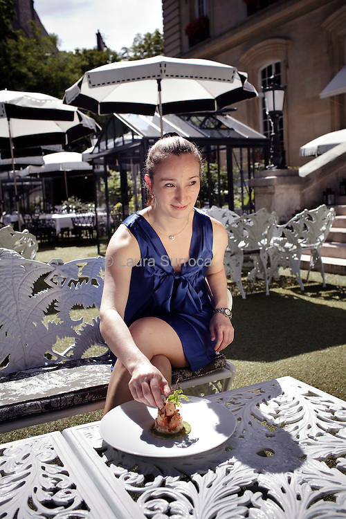 Virginie Basselot, chef étoilée et Meilleur Ouvrier de France 2015. Restaurant Saint James. Paris, le 18 juillet 2012.