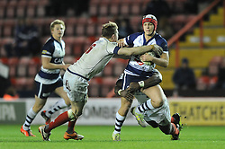 Bristol Rugby's replacement fly half, Callum Sheedy is challenged - Photo mandatory by-line: Dougie Allward/JMP - Mobile: 07966 386802 - 05/12/2014 - SPORT - Rugby - Bristol - Ashton Gate - Bristol Rugby v London Scottish - B&I Cup