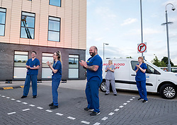 © Licensed to London News Pictures; 30/04/2020; Bristol, UK. Emergency Service workers and the public clap outside Southmead Hospital at 8pm on Thursday evening to applaud NHS health service workers during the coronavirus Covid-19 pandemic. Photo credit: Simon Chapman/LNP.